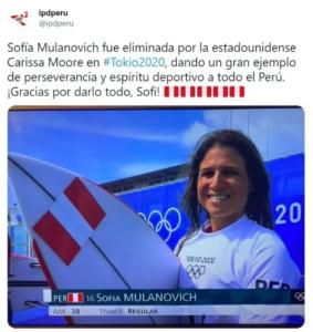 Tuit del IPD sobre Sofía Mulanovich